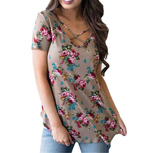 Womens Sexy Rundhalsausschnitt Short Sleeve Blumendrucke Slim Fit T-Shirt-Spitze Hemd Kaffee