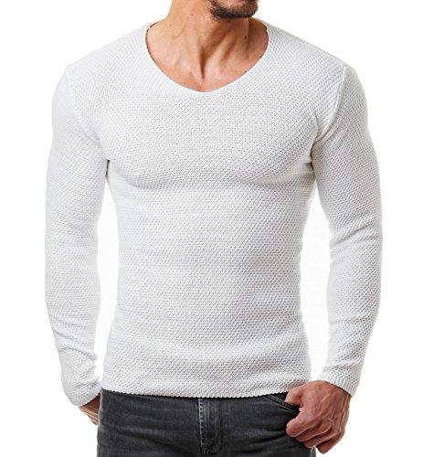 EightyFive Herren Strick-Pullover Feinstrick Schwarz Weiß Anthrazit Grau EF1402, Größe:S, Farbe:Weiß
