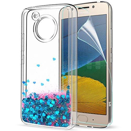 LeYi Hülle Motorola Moto G5 Glitzer Handyhülle mit HD Folie Schutzfolie,Cover TPU Bumper Silikon Flüssigkeit Treibsand Clear Schutzhülle für Case Motorola Moto G5 Handy Hüllen ZX Blau