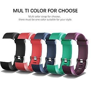 AITOO ID115 Plus - Correas de repuesto de TPU para reloj de seguimiento de fitness ID115 Plus HR (5 colores: negro/azul… 11