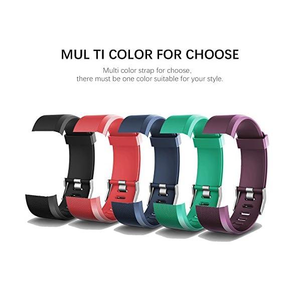 Aitoo® ID115 Plus Correas de Repuesto de TPU para Reloj de Pulsera de Fitness ID115 Plus HR, 5 Colores, Negro/Azul/Morado/Verde/Rosa 1