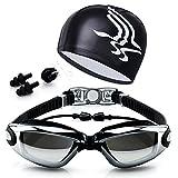 Leoie Swimming Accessories, HD Waterproof Anti Fog Swimming Goggles Swim Cap Set