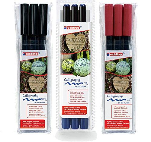 edding 4-1255-3-001 Kalligrafie-Stift, schwarz + rot + blau sortiert | 3 Etuis á 3 verschiedene Kalligrafie Stifte
