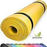 diMio Yogamatte Gymnastikmatte Rutschfest mit Tragegurt, phlatatfrei + SGS-geprüft, 185x60x1.0cm Gelb