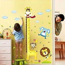 UniqueBella Pegatinas de Pared Vinilo Infantil Decorativo Adhesivo Decoración para Hogar Habitación de Niños Medidor Medir Altura Animales Coloridos Jirafa