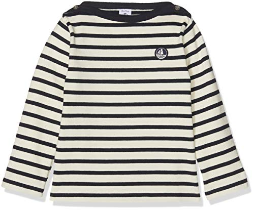 Petit Bateau SF MARINIERES, T- T-Shirt Bébé garçon, Blanc (Coquille/Smoking 01), Taille Fabricant: 18M 18 Mois