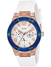 Guess W0564L1 - Reloj analógico de acero inoxidable con correa de silicona, multicolor