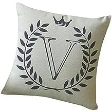 Oferta de Liquidación! Colchón Cubierta de edredón Funda de almohada Patrón de letras Cojín de lino de algodón Sofá Decoración del hogar �� Manadlian (V)