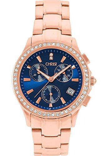CHRIST times Damen-Armbanduhr Analog Quarz One Size, blau, rosé/blau