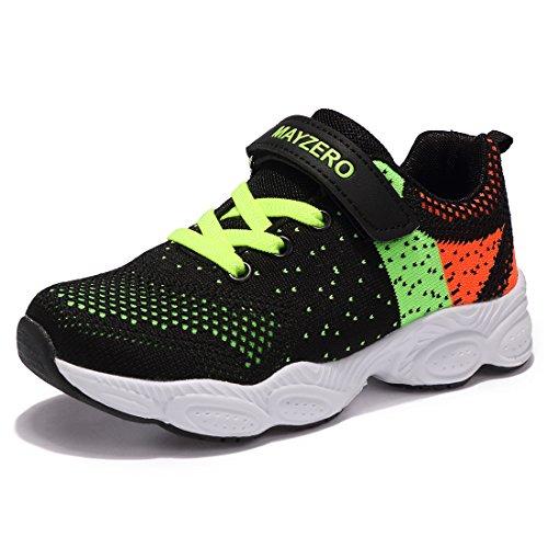 Mayzero bambina scarpe da ginnastica ragazzo ragazza scarpe unisex kids scarpe da corsa leggera in mesh atletico leggero per ragazzi ragazze sneaker (29 eu, verde#1)
