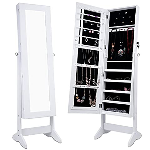 LANGRIA Free Standing Lockable Full Length Mirrored Jewellery Cabinet Armoire