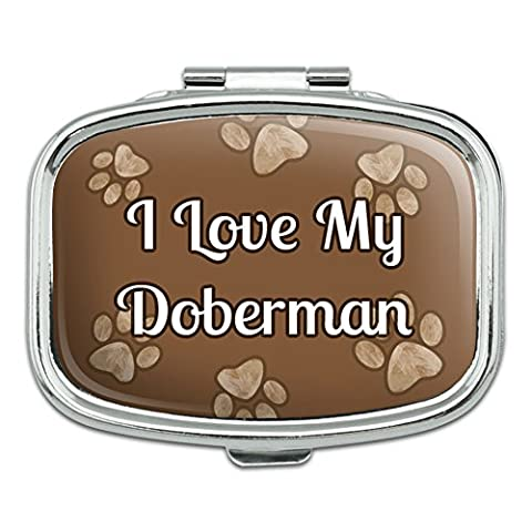 Rectangle Pill Case Trinket Gift Box I Love Heart My C-F - Doberman by Graphics and More