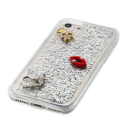 """MOONCASE iPhone 7 Coque, Glitter Sparkle Bling [Angel] Faux Diamant Dessin Motif Liquide Étui Coque pour iPhone 7 4.7"""" Soft TPU Gel Souple Case Housse de Protection Or 03 Argent 02"""