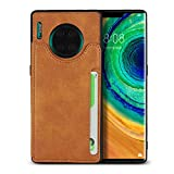 FAWUMAN Case for Huawei Mate 30 Pro Premium PU Flip Case Wallet Card Slots Mobile Phone Case Stylish Flip Case with Stand Function and Magnetic Closure Protective Case Leather -Khaki