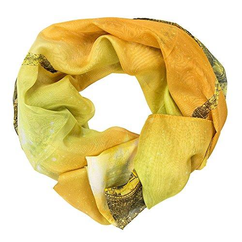 MANUMAR Schal aus Polyester für Damen | Hals-Tuch mit Eifelturm Paris Städte-Motiv als perfektes Herbst Winter Accessoire | Das ideale Geschenk für Frauen