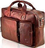Echt Leder Messenger bag Business Tasche Aktentasche Herrentasche Schultertasche Umhängetasche DIN-A4 Braun Laptoptasche Notebooktasche Cognac