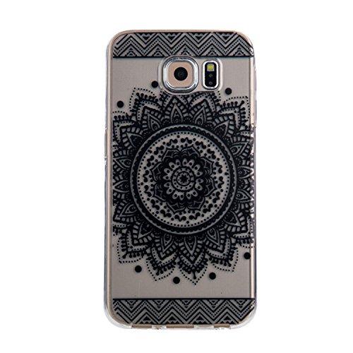 Cuitan Transparent Weiche TPU Gel Schutzhülle Hülle Handyhülle für Samsung Galaxy S6, Schwarz-Musterentwurf Rückseitige Abdeckung Telefonkasten Etui Back Case Cover Shell - Sonnenblume