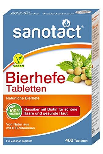 sanotact Bierhefe Tabletten - 400 Stk., Nahrungsergänzungsmittel mit 6 B-Vitaminen, vegan, 100{9a25b2dc46aa7bbbd801dcc6be38e9ca27bba9eded97b788caefa17be5eeee23} natürlich