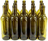 15 Stk. 750ml Weinflasche Olivgrün leere Glasflasche Likör Wein mit Korken neu -
