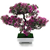 24x7eMall Bonsai Artificial Dwarf Tree with Pot and Grass (Pink, 25cm x 23cm) (Pot - 11cm x Breath 7cm)