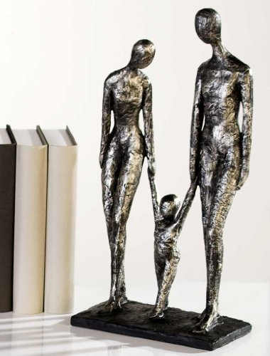 Extravagante Skulptur FAMILY antik-silber aus Poly Höhe 38 cm Breite 20 cm Antikfinish