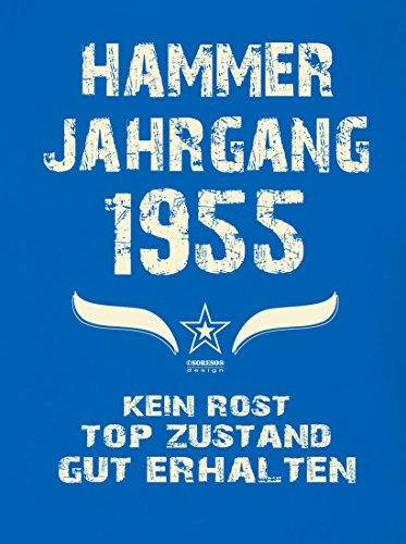 Geschenk zum 62. Geburtstag :-: Geschenkidee Herren kurzarm Geburtstags-Sprüche T-Shirt mit Jahreszahl :-: Hammer Jahrgang 1955 :-: Geburtstagsgeschenk Männer :-: Farbe: royal-blau Royal-Blau