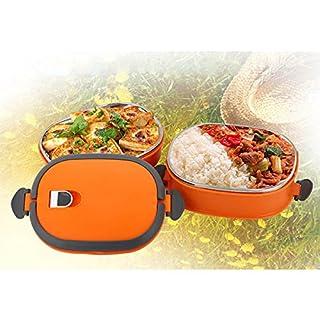 Aliciashouse Vakuum Dichtung Stapeln isoliert Lunch Box Edelstahl Isolierung Bento Box Dual Griff Thermobehälter _orange & 2 Schicht