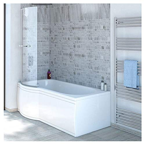 Badewanne SKALI 170 Links + Duschkabine + Wannenschürze + Ablaufgarnitur + Wannenfüße