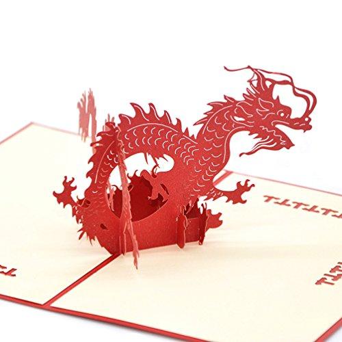 medigy 3D Pop up Grußkarte Congratulations für die meisten occastions, dreidimensionalen, die Chinesischer Drache