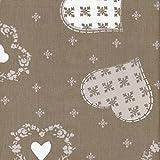 Tissu de coton imprimé | Tissu de Noël - beige taupe avec coeurs et flocons de neige (blanc et gris beige) | Largeur: 160cm (1 mètre)