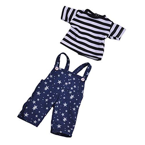 MagiDeal Nettes Gestreiftes T-Shirt & Stern gedruckt Schultergurt Hosen Für 18 Zoll American Girl (Schwarz + Weiß + Blau) (18-zoll-puppe T-shirt)
