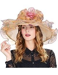 Vbiger Vendimia y De Moda Organdí Floral Volantes Amplio Grande Borde Té Partido Boda Sol Sombrero Playa Sunbonnet