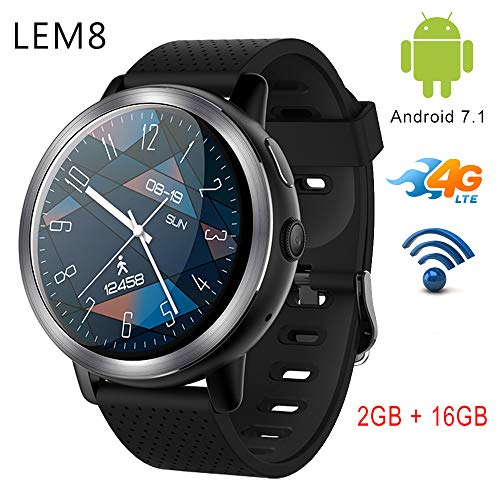 Lemfo LEM8 4 G Smart Watch Android 7.1.1 2 GB + 16 GB con GPS 2 MP fotocamera schermo amoled 3,5 cm 580 mAh batteria uomini Smartwatch per Android iOS