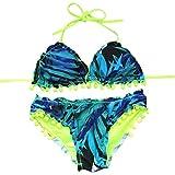 Rétro Bikini Tondeuse Maillot de Bain Femme 2 Pièces avec Taille Haute et Pois Taille haute style (Vert, XL)