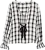 find. Bluse Damen mit Schluppe und Rüschen, Mehrfarbig (Black Mix), 36 (Herstellergröße: Small)