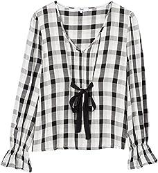 find. Bluse Damen mit Schluppe und Rüschen, Mehrfarbig (Black Mix), 34 (Herstellergröße: X-Small)