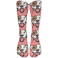 pigyear888 Style Unisex Socks Casual Knee High Stockings Pit Bull Smile Cotton Socks One Size