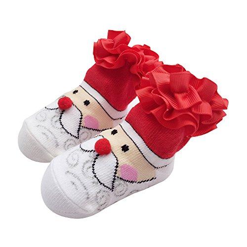 Sanlutoz Bambin Bébé garçon fille Noël Chaussettes Cadeaux Père Noël Nouveau-né Chaussette infantile Halloween (12-24 mois, SOCKAD008)