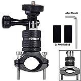 Homeet Actioncam Supporto per Manubrio Bicicletta in Alluminio di Montaggio del Supporto Girevole a 360 gradi, per GoPro SJCAM Garmin Virb per 20mm-35mm Manubrio, (Nero)