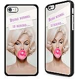 Gadget Zoo - Carcasa para iPhone 4, 4S, 5, 5S, 6, 6S Plus, con texto en inglés, color negro, plástico, Marilyn Monroe Being normal is boring, iPhone 6 6s Plus