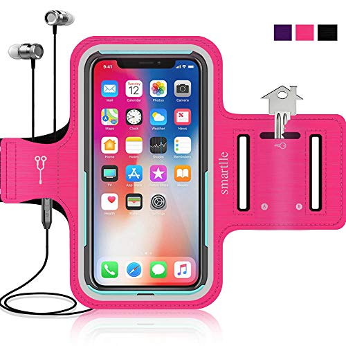 Smartlle Sportarmband für iPhone X XR XS 8 8s 7 7s 6 6s se & Samsung Galaxy S9 S8 S7 S6 Edge. Running, Workout & Joggen Laufen Armband - Handyhalter Case(Rosa) (Rosa Iphone 5s Armband)