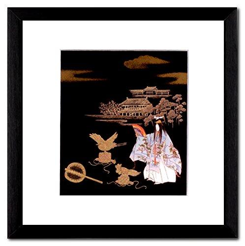 TSURUKAME Kranich und Schildkröte Japan Maki-e Bild Passepartout in Holzrahmen 20 x 20 cm