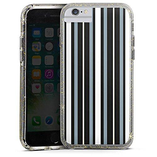 Apple iPhone 8 Bumper Hülle Bumper Case Glitzer Hülle Streifen Stripes Stoff Bumper Case Glitzer gold