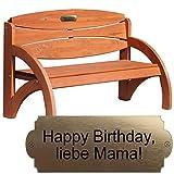Gravierte Geburtstagsbank mit Lehne - personalisierte Sitzbank für Männer und Frauen - schöne Gartenbank als Geschenk zum Geburtstag (Kirsche)