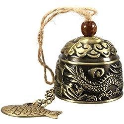 Adorno campana de viento D&&R, buda chino con moneda de metal, adorno de campana abalorio de latón para buena suerte Feng Shui, Fish Bell