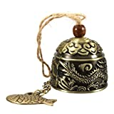 D&&R 1 x Vintage Fengshui Bell Good Luck Bless Brass Zinc Alloy Home Garden Hanging Windchime Chinese Traditional Wind Chime Ornament
