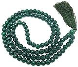 Givereldi Dunkelgrüner Achat Mala Perlen Halskette Armband 108 Perlen 6 Mm breit - Rücken an Rücken plus 1 größere Guru-Perle - Gebet, Meditation oder Quaste Halskette
