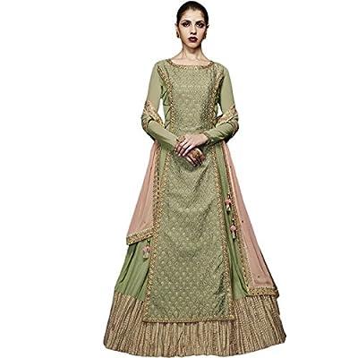 Impressed Collection Lime Georgette Party Wear Salwar Kameez