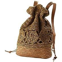 Haodou 1 Unids Vintage Boho Hecho a Mano Hollow Crochet Paja Weave Hombro Tejido Bolso de