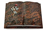 MEMORUM Grabmale Grabbuch, Grabplatte, Grabstein, Grabkissen, Urnengrabstein, Liegegrabstein Modell Livre Pagina 40 x 30 x 8-9 cm Aruba-Granit, Poliert inkl. Gravur (Bronze-Color-Ornament Rose 7)